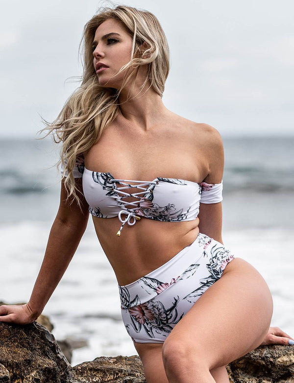 Delicate Floral Print Strapless Sexy Bandeau Summer Bikini Set