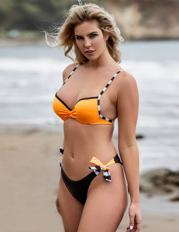 Delicate Orange Stripe Underwired Sexy Summer Bikini Set