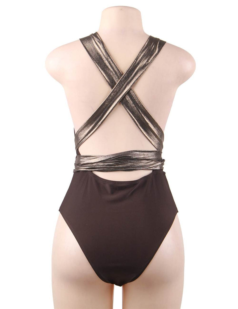 Sexy V Neckline Push Up Bandage One Piece Swimsuit For Women
