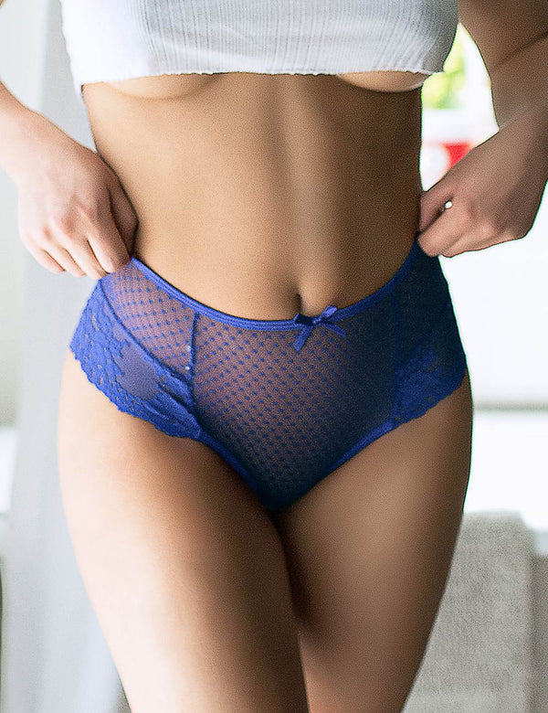 Delicate Plus Size High Waist Back Fasten Blue Lace Panties