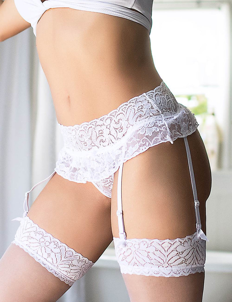 Plus Size Women Delicate White Lace Sexy Garter Belt
