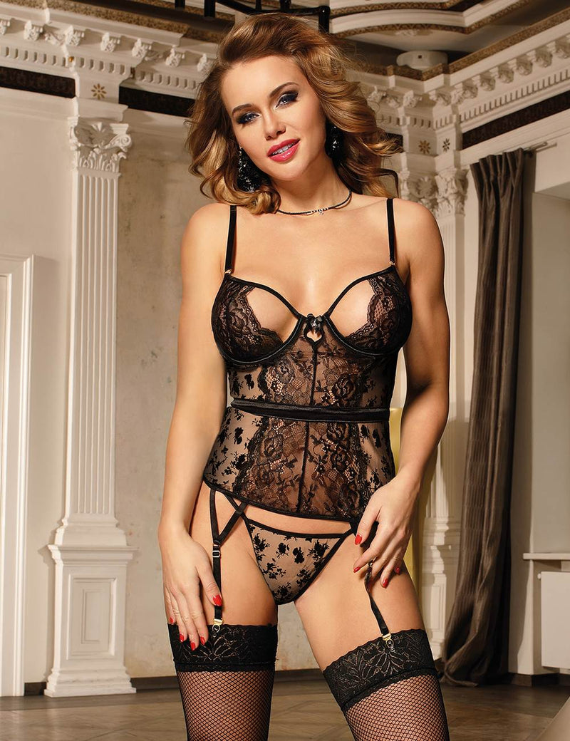 High Quality Black Lace Open Cup Underwired Sexy Babydoll Set