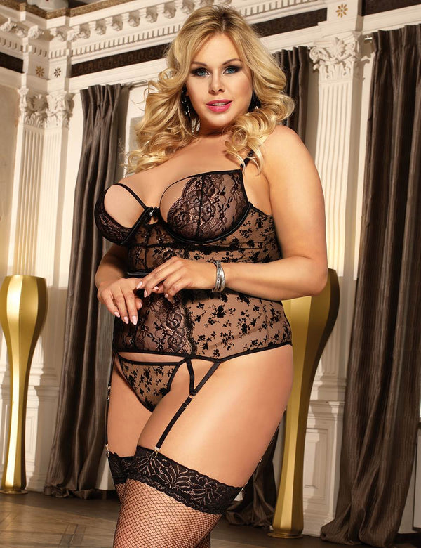 Exquisite Plus Size Black Lace Underwired Garter Lingerie