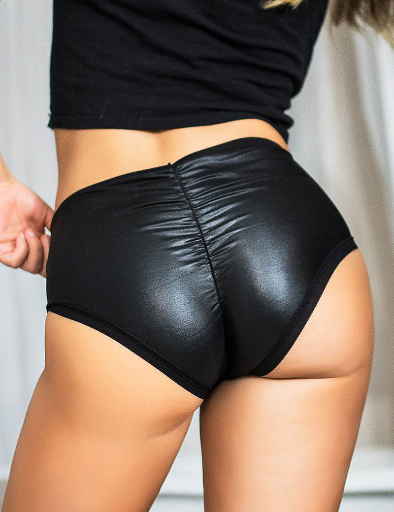 Delicate Black Leather Underwear Lift Hip Sexy Panties