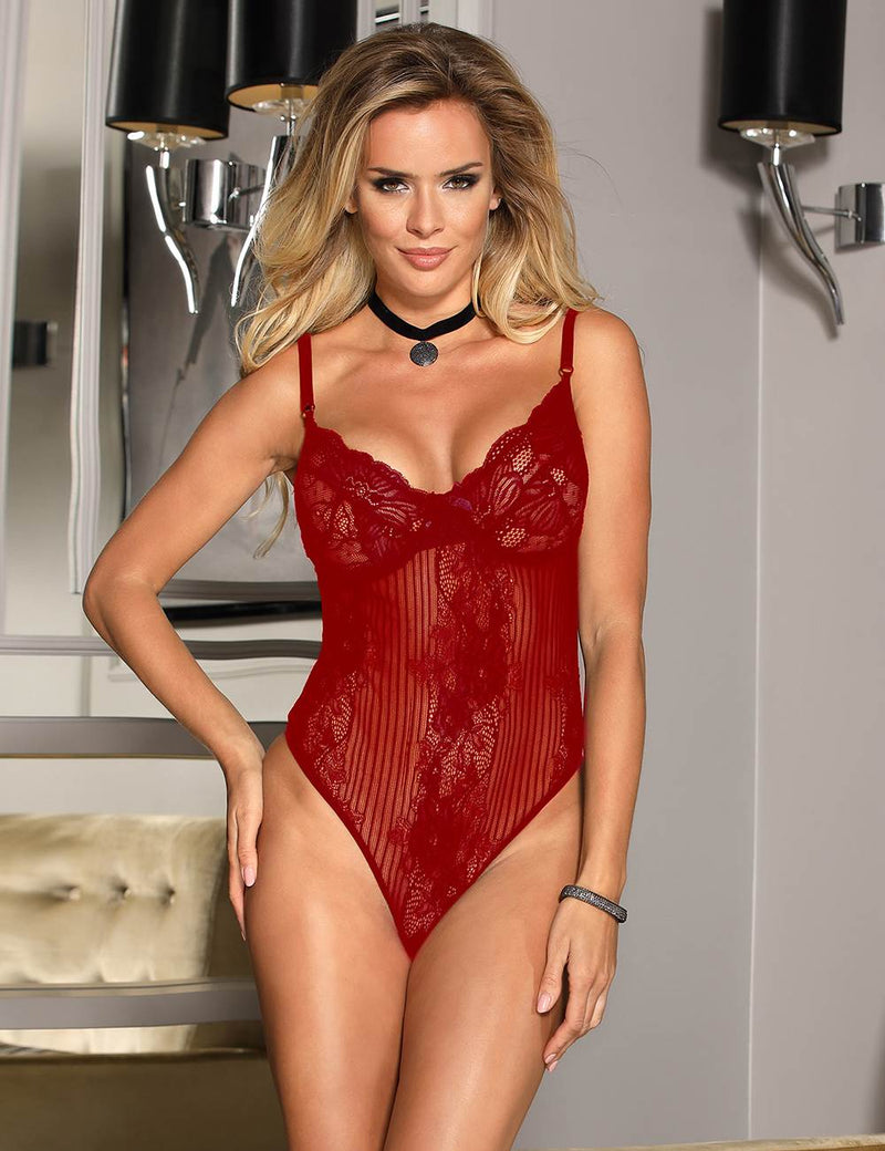 Glamour Underwire Cup Black Lace Women Sexy Bodysuit Lingerie