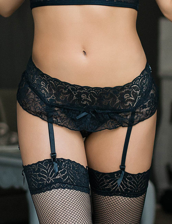 Plus Size Delicate Black Lace Women Sexy Garter Panties