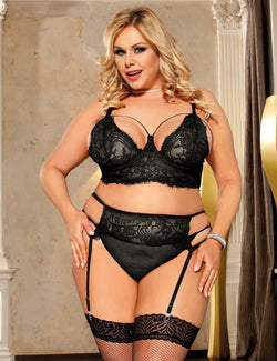 Classy Plus Size Black Lace Underwired Sheer Bra Lingerie Set