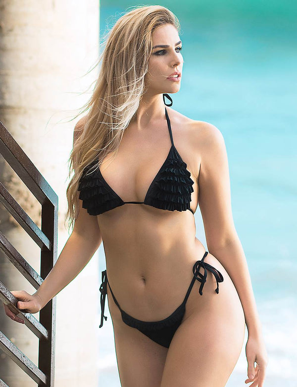 Black Ruffled Triangle Bikini High Cut Bandage Bikini Set
