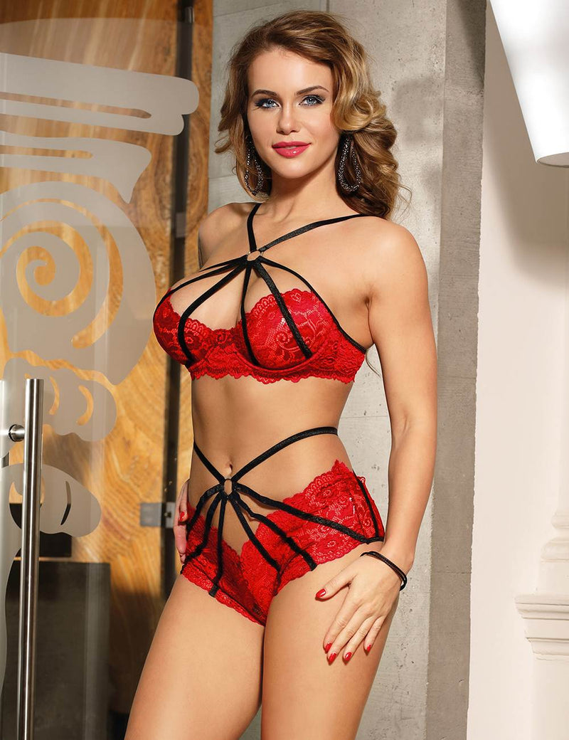 Super Delicate Plus Size Red Lace Sexy Strappy Bra Panty Set