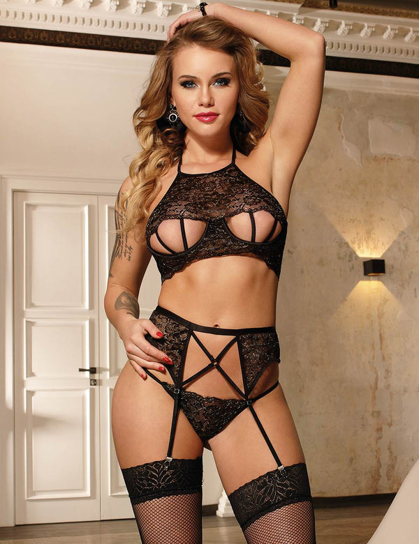 Delicate Black Lace Stitching Cross Straps Sexy Bra and Panty Sets