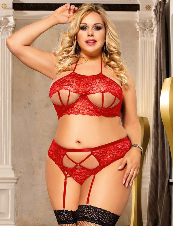 Delicate Plus Size Red Lace Sexy Open Bra Underwired Lingerie Set