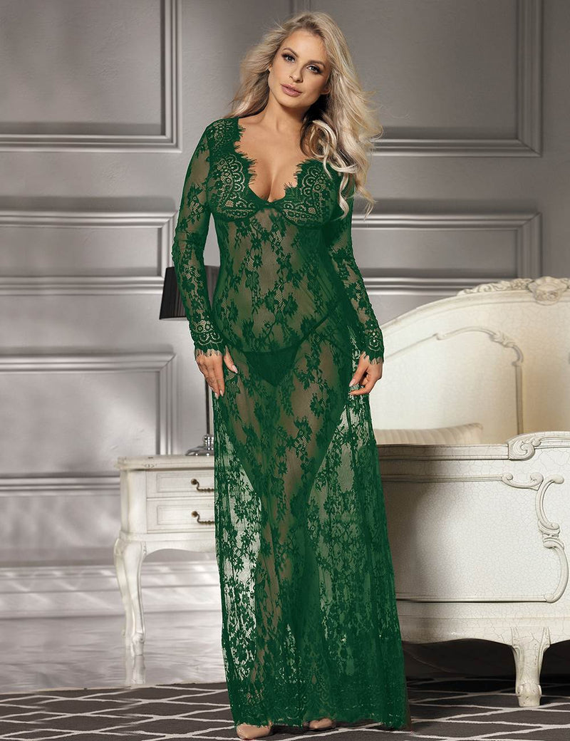 Elegant Plus Size Soft Red Lace Long Sleeves Transparent Sleepgown