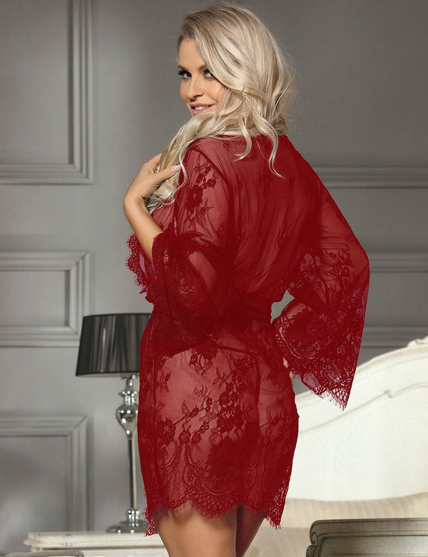 Extreme Alluring Sheer Red Lace Robe Long Sleeves Sleepgown
