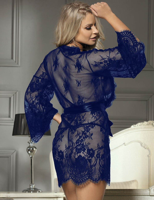 Charming Dark Blue Sheer Lace Robe Long Sleeves Sexy Sleepgown