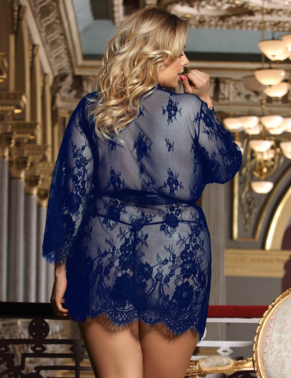 Super Delicate Dark Blue Plus Size Sheer Soft Lace Sexy Robe