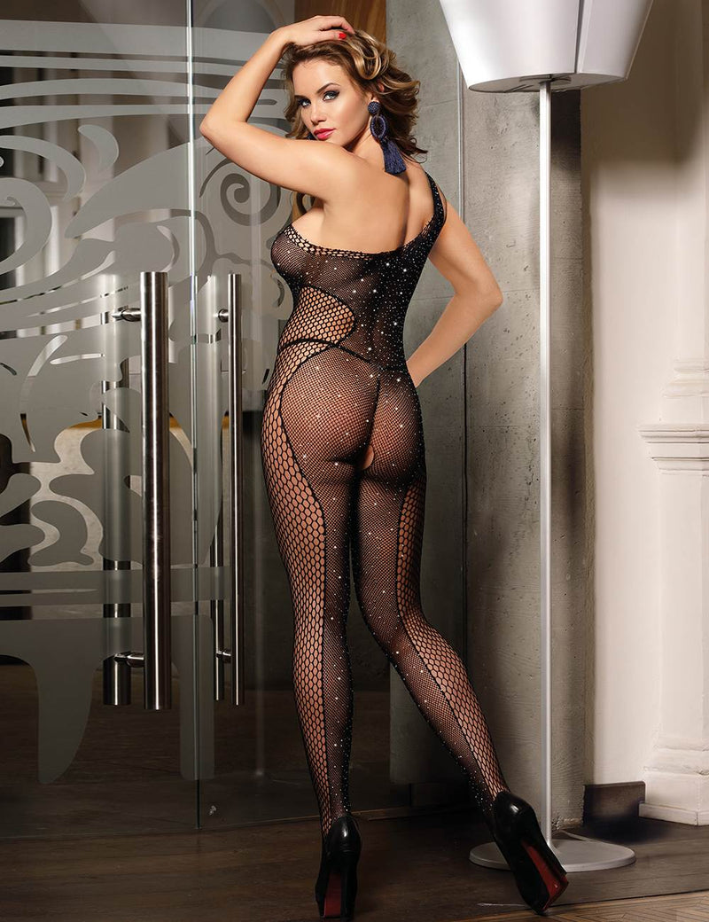 Stylish Black Fishnet Diamond Sparkling Open Crotch Bodystocking