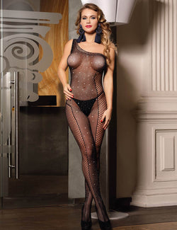 Plus Size Black Fishnet One Shoulder Open Crotch Bodystocking