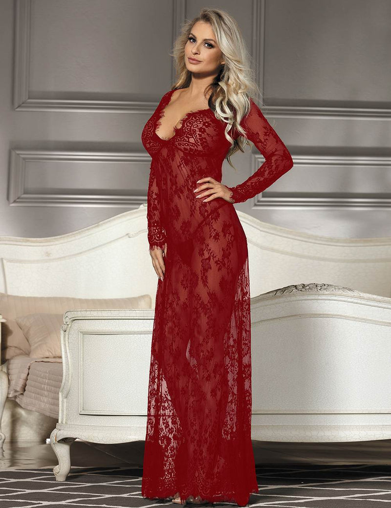 Elegant Dark Red Soft Lace Long Sleeves See Through Maxi Sleepgown