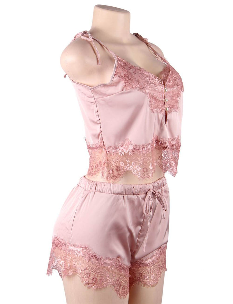 Super Delicate Silky Satin Short Pajama Sets With Lace Stitched