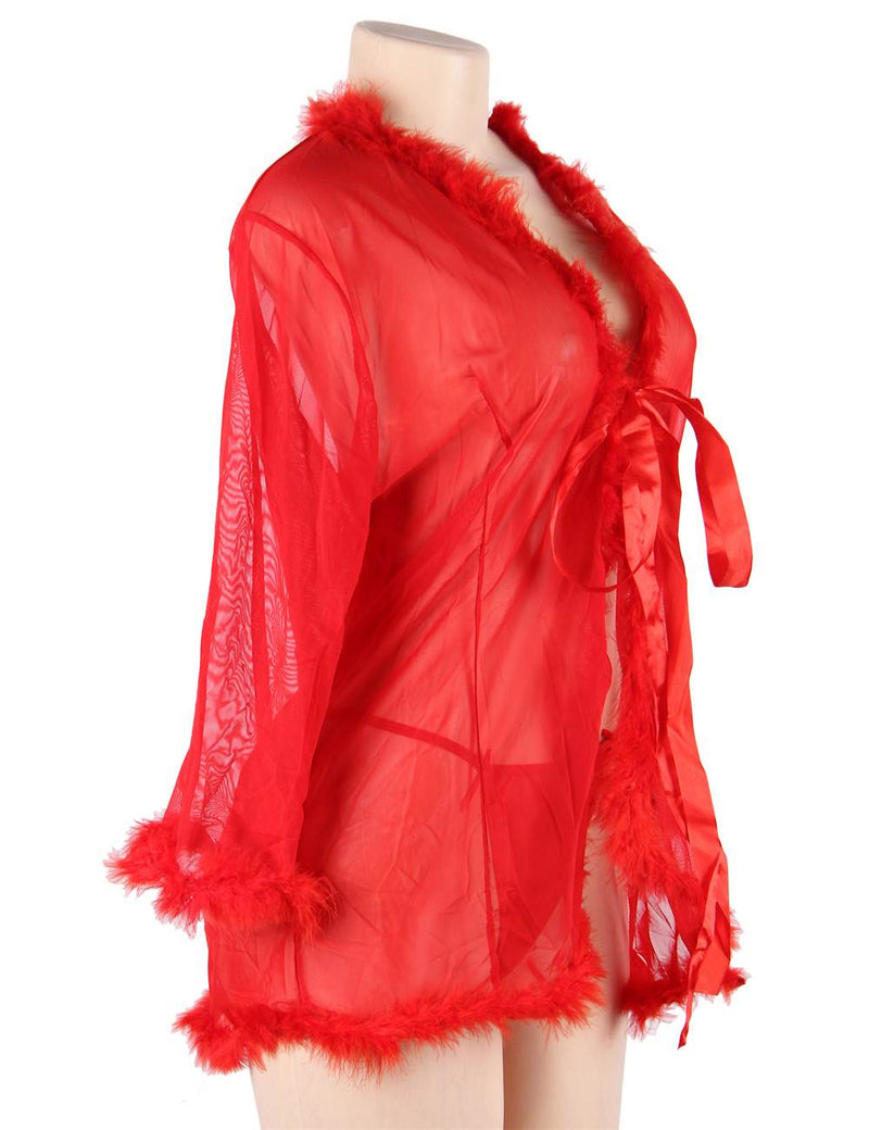 Queen Red Perspective Sleepwear With Fur