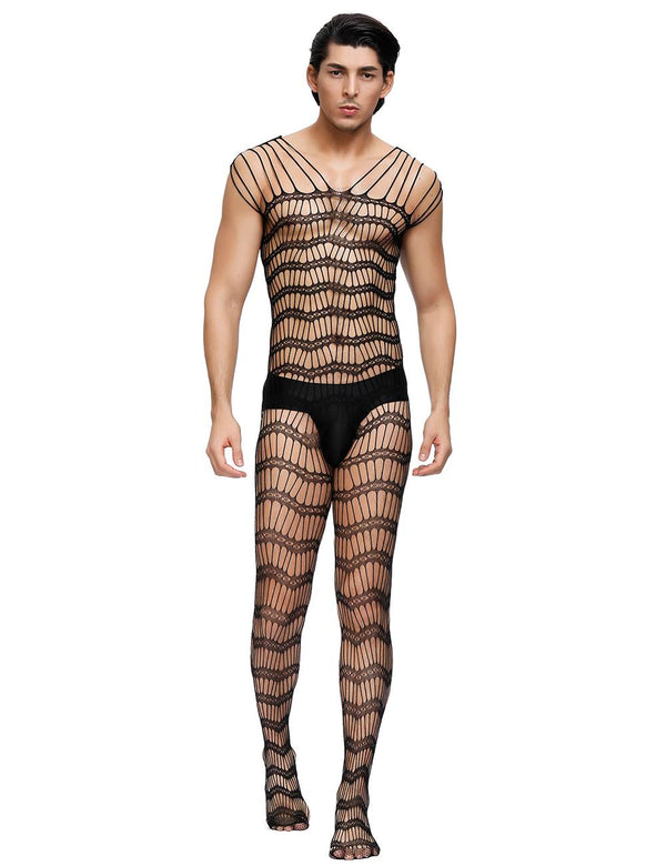 Strappy Sheer Open Net Mens Bodystocking