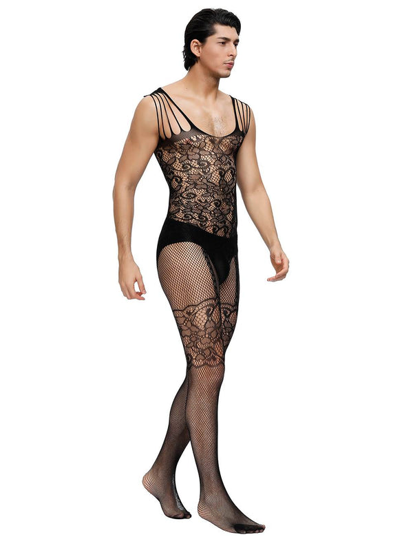 Strappy Floral Black Male Bodystocking