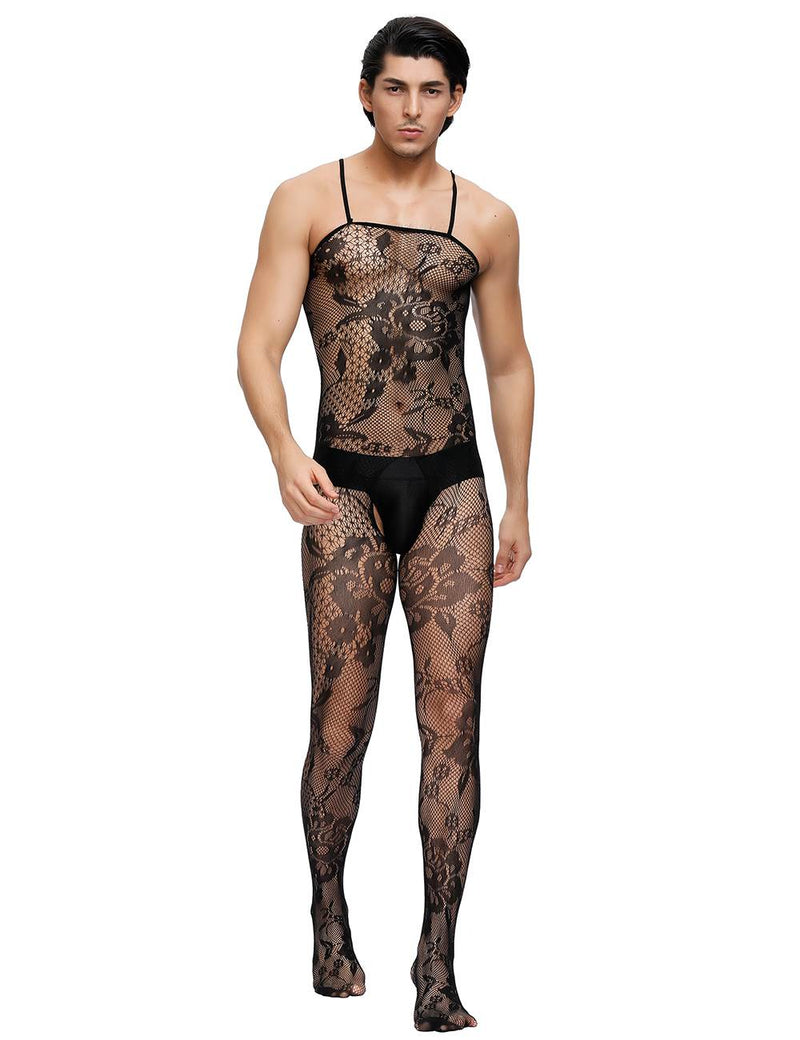 Black Crotchless Floral Fishnet Mens Bodystocking