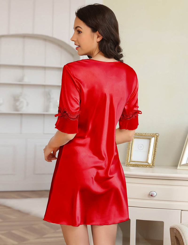 Passion Red Soft and Smooth Half Sleeve Silky Night Dress Women Pajama