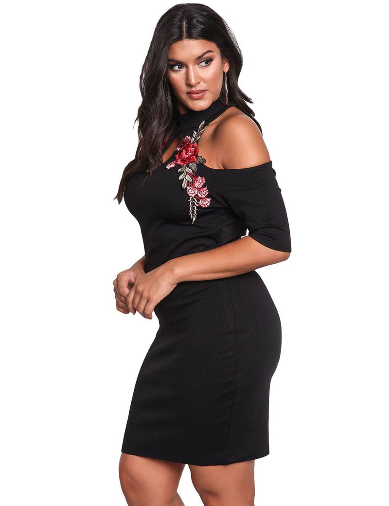 Stylish Off Shoulder Floral Embroidery Black Plus Size Casual Dresses