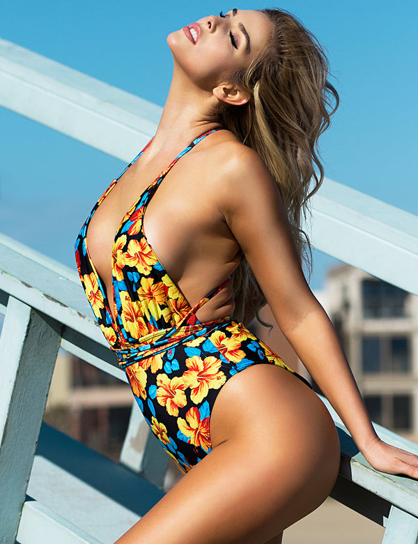 Delicate Floral Printed V Neckline Tie Up Soft One Piece Swimsuit