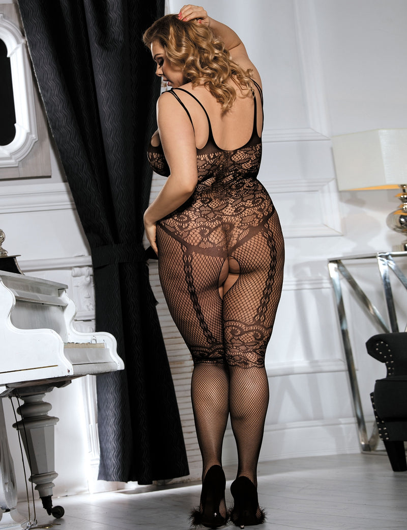 Paisley Plus Size Stylish Open Crotch Sexy Black Fishnet Bodystocking