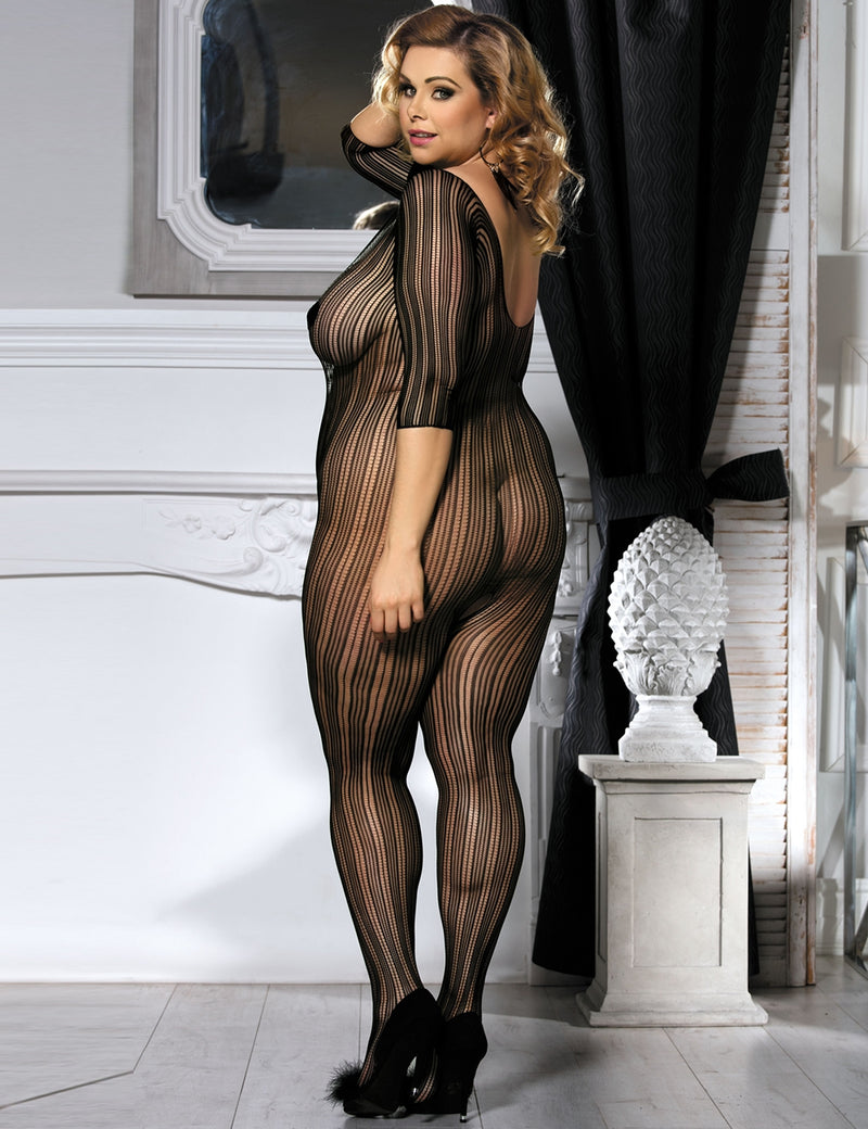 Plus Size Black Stripe High Elasticity Sexy Body Stocking Lingerie