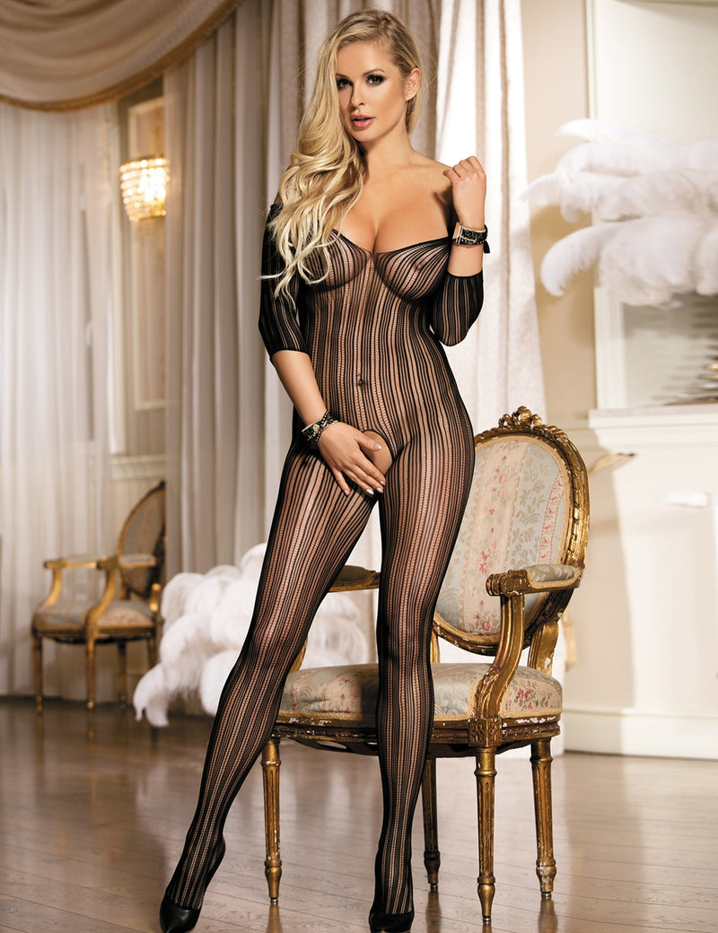 Stylish Black Stripe Stretchy Open Crotch Sexy Body Stockings
