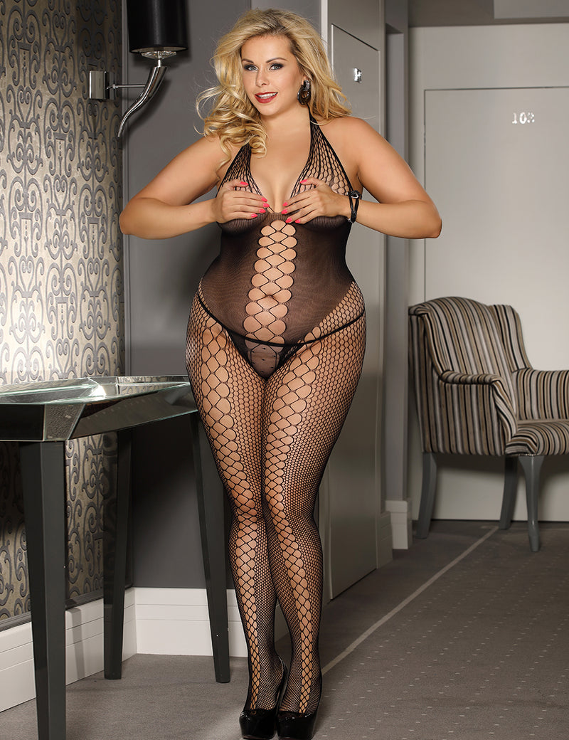Stylish Plus Size Black Fishnet Halter Body Stocking
