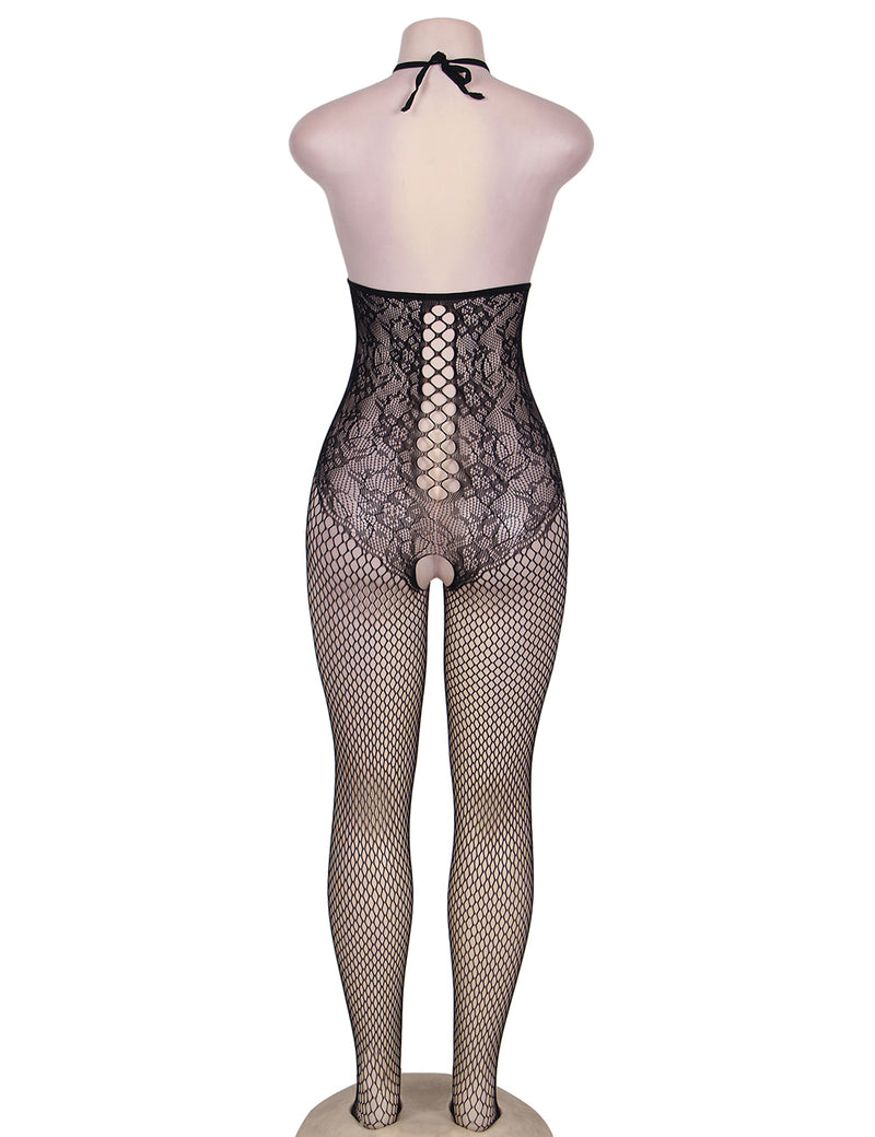 Erotic Open Cup Stretchy Black Halter Fishnet Bodystocking