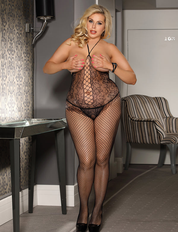 Plus Size Black Halter Fishnet Open Cup Crotchless Bodystocking