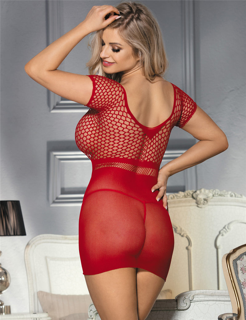 Delicate Mesh Hollow Out Mini Chemise Red Fishnet Bodysuit