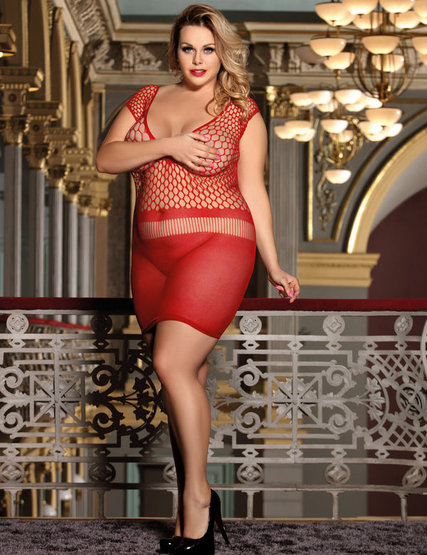 Plus Size High Elasticity Fishnet Open Crotch Bodystocking