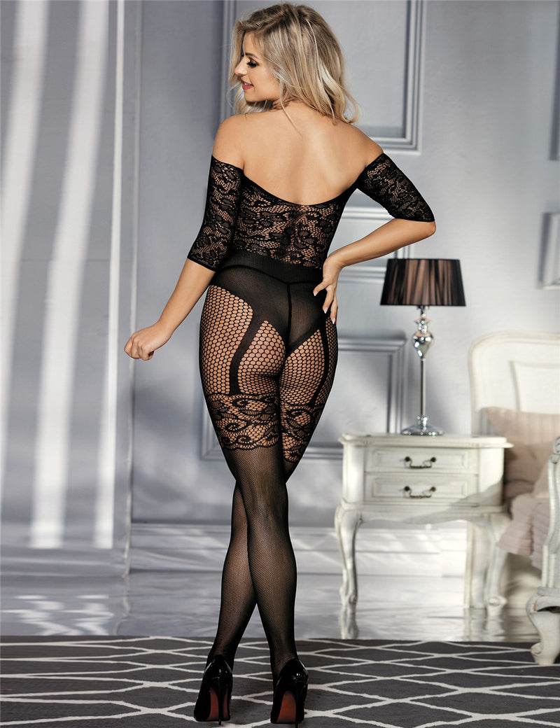 Free Shipping Black Fishnet Decolletage Women Sexy Bodystocking