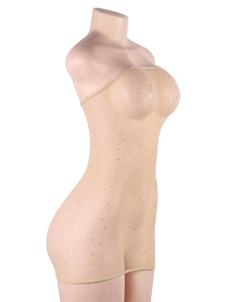Appealing Beige Off Shoulder Sparkling Ladies Sexy Fishnet Body Tights