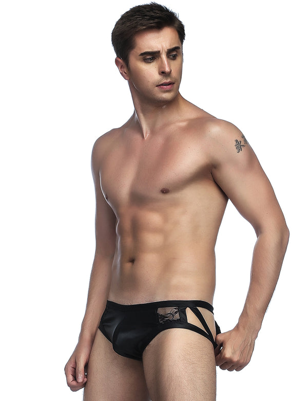Black Leather Mens Lace Panties Low Waist Male Undergarments