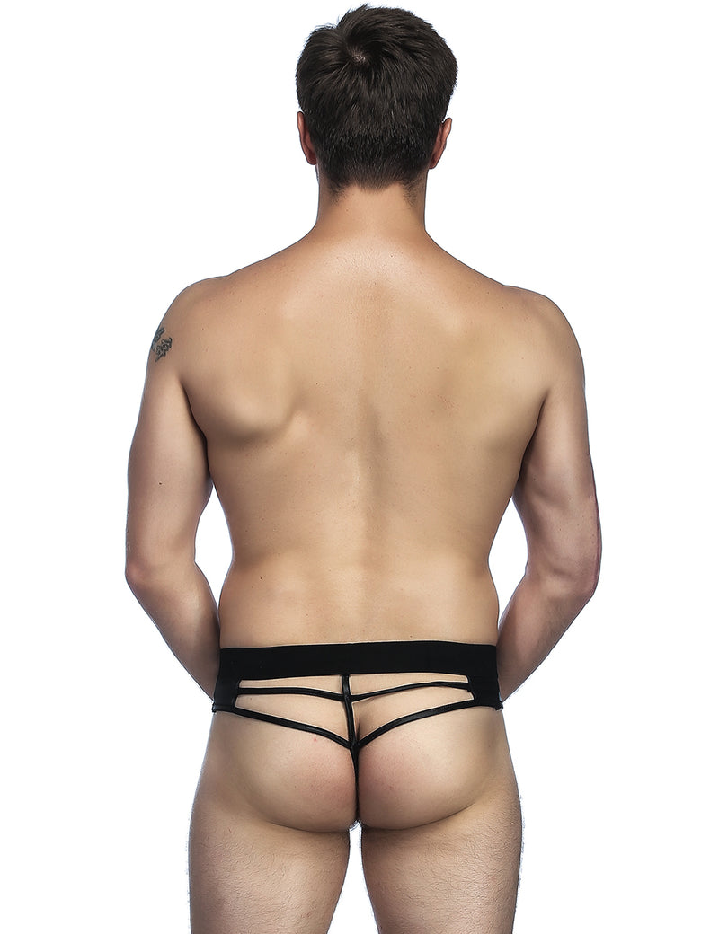 Extreme Stylish Black Faux Leather Backless Sissy Panties for Men