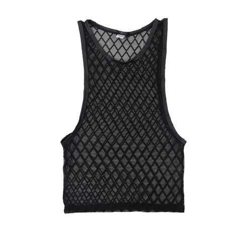 Men Sexy Mesh Plaid Transparent Tank Tops Undershirts For Fun Party Vest