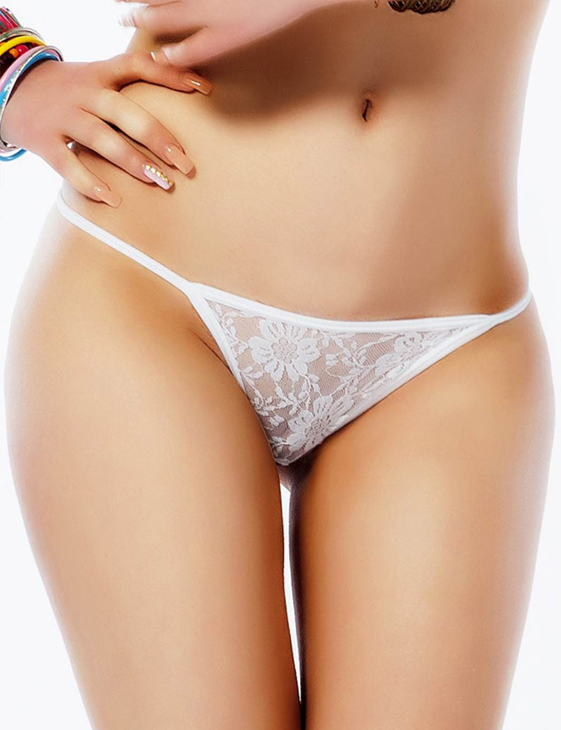 White Lace T Back Sexy G String Transparent Briefs Women Panties