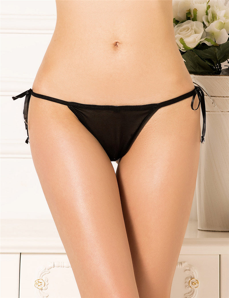 Extreme Sexy Plus Size Women Sexy Black Embroidered G String