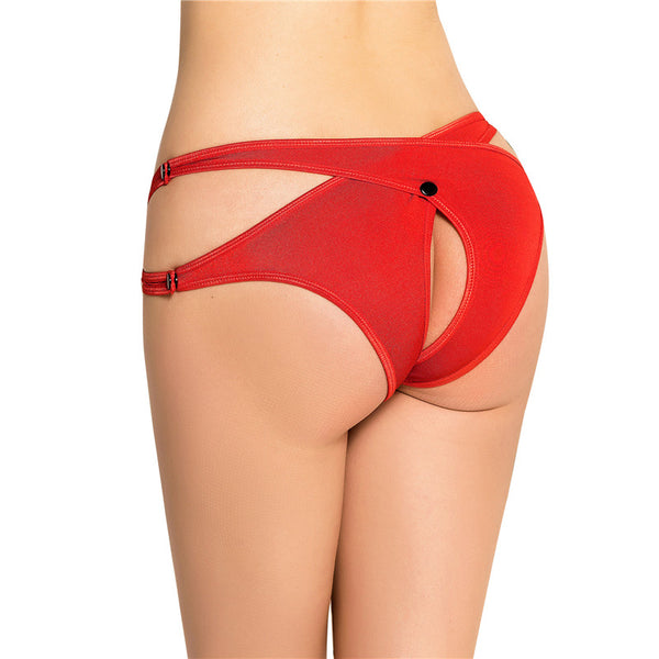 Plus Size Red Thong Panties Crotchless Cutout Sexy Underwear