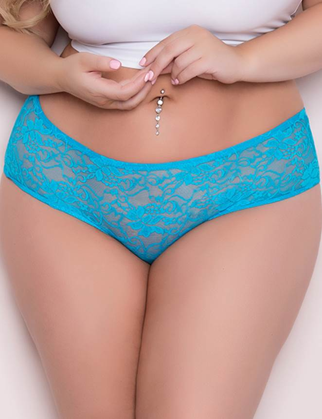 Big Size Blue Lace Panty Floral Open Crotch Women Underwear