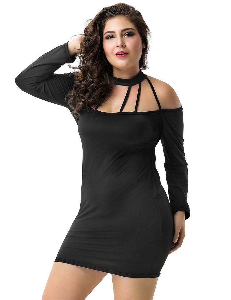 Plus Size Strappy Women Fashion Halter Black Bodycon Dress