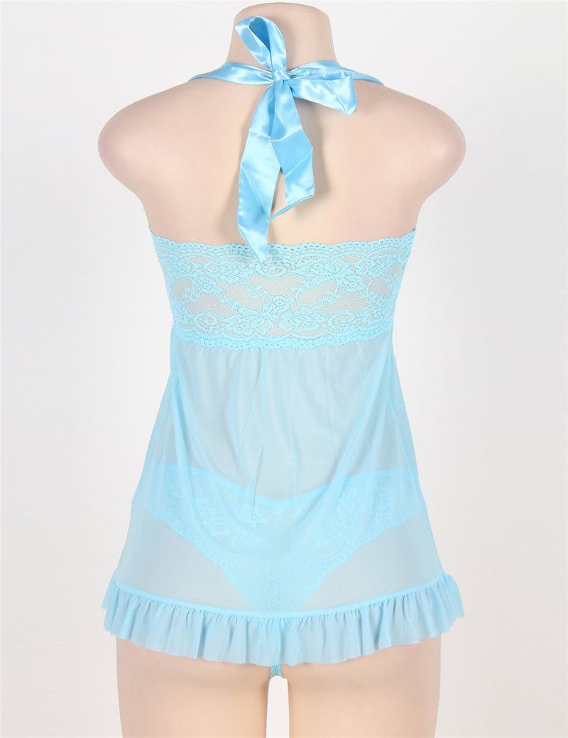 Extreme Lovely Blue Lace Halter Babydoll Dress Sexy Lingerie