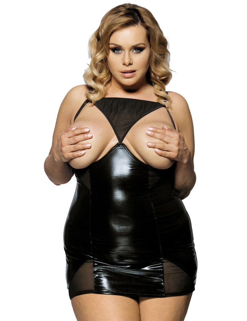 Stylish Black Leather Lingerie Open Cup Women Sexy Babydoll